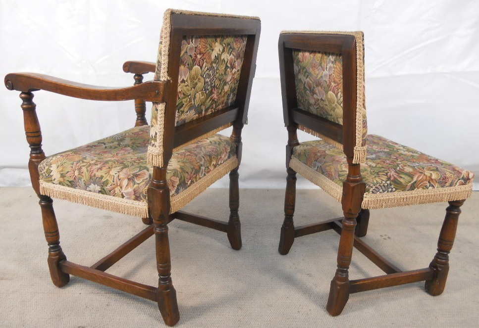Set Of Eight Tudor Style Oak Framed Upholstered Dining Chairs